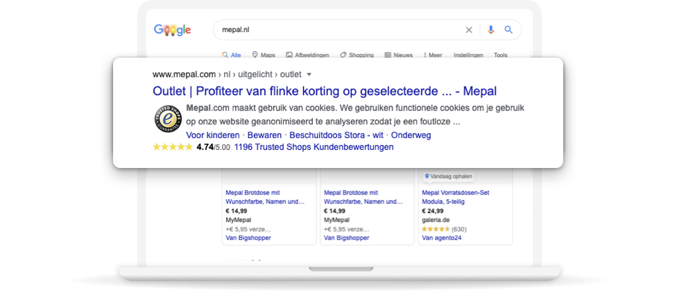 Met de browserextensie kunt u veilige winkels vinden in Google search.
