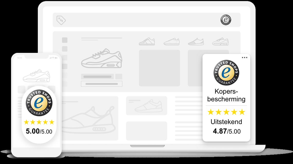 Het keurmerk van Trusted Shops is beschikbaar voor desktop en mobiel.
